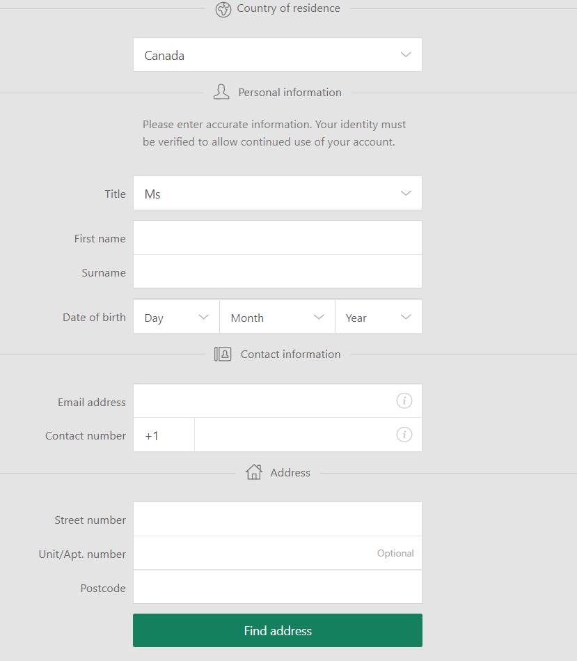 Registration Form at Bet365