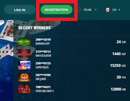 22bet Register button