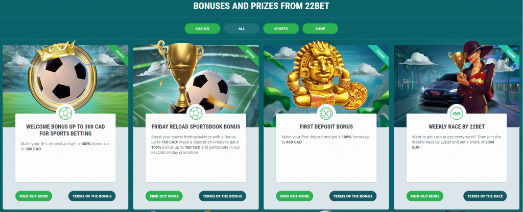 Promotions at 22bet