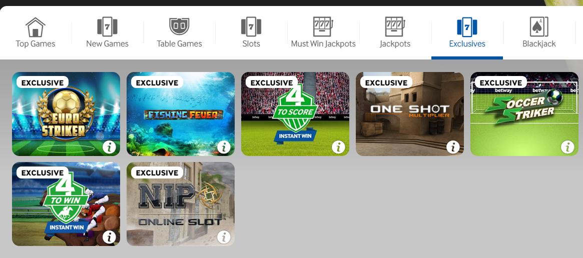 Betway Exclusive Games