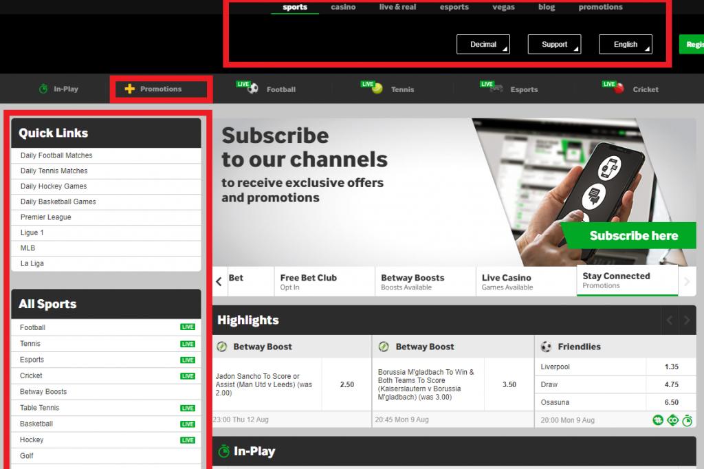 Betway Homepage Navigation