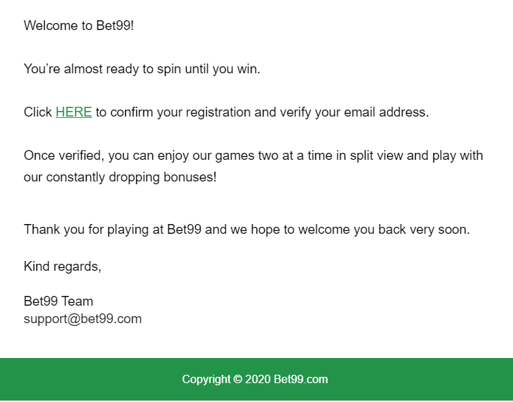 Bet99 Verification Email