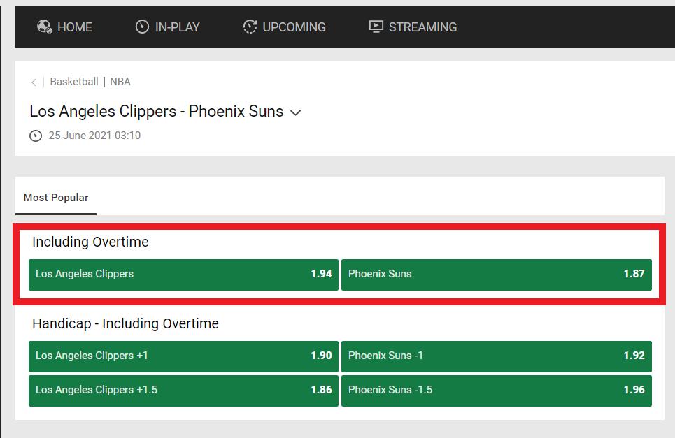 Los Angeles Clippers vs. Phoenix Suns moneyline bet