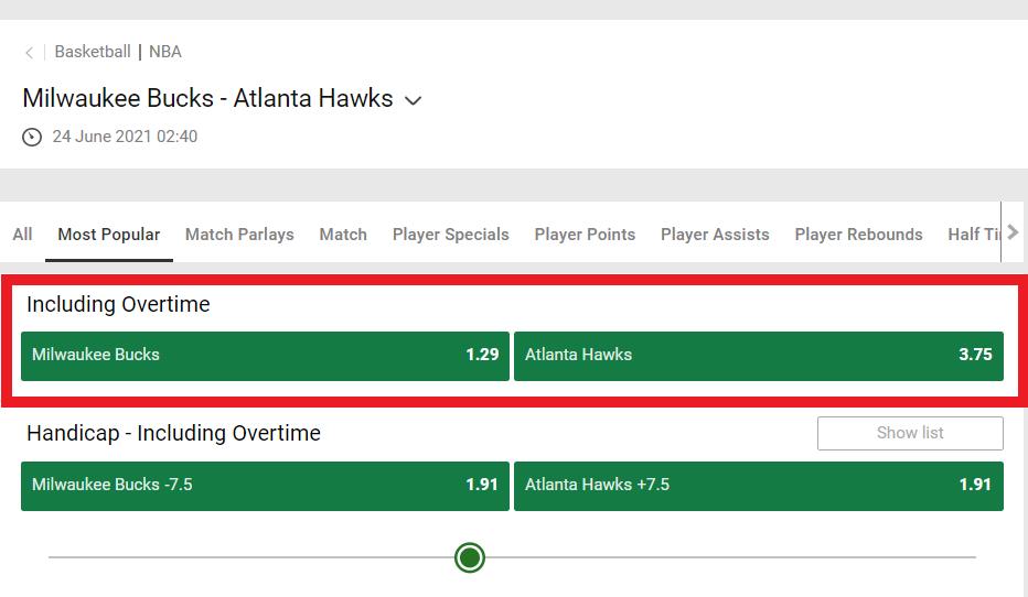 Milwaukee Bucks vs. Atlanta Hawks how to read odds