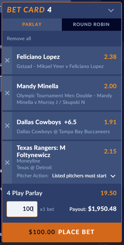 Example of a 4-leg parlay bet