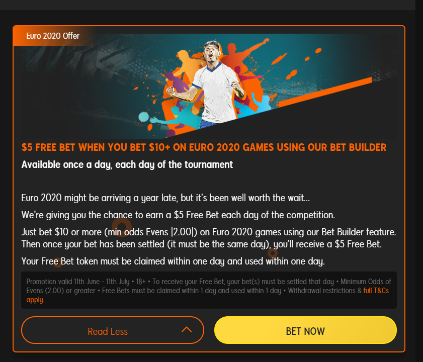 Example of a Free Bet offer