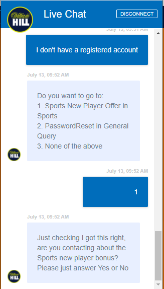 Live Chat William Hill Example