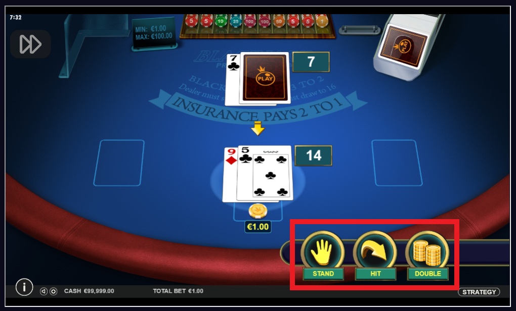 options when playing blackjack