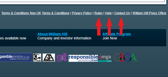 William Hill Canada Links that do not work