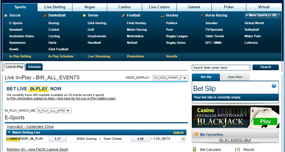 William Hill Cluttered Layout