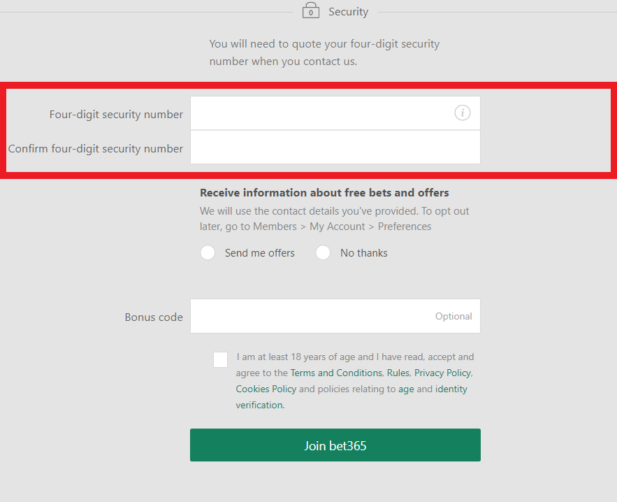 Bet365 Security Number