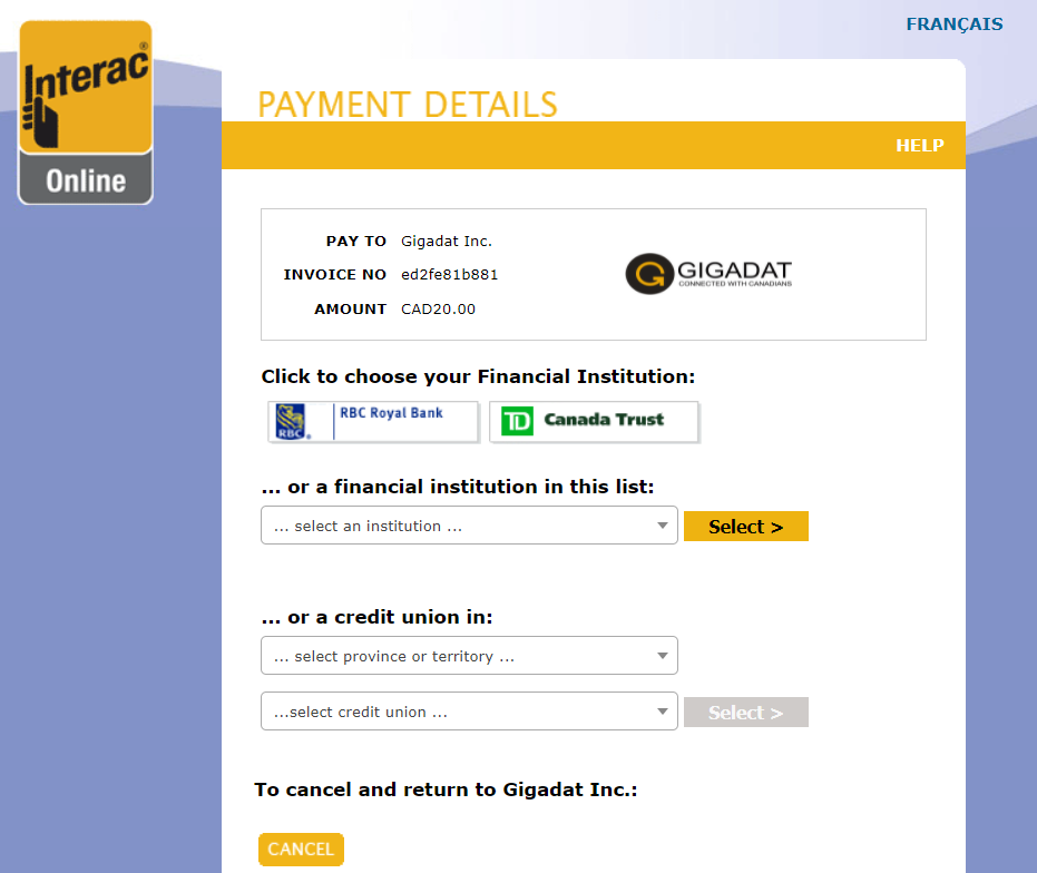 Interac Online payment page