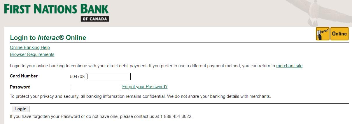 Interac bank page