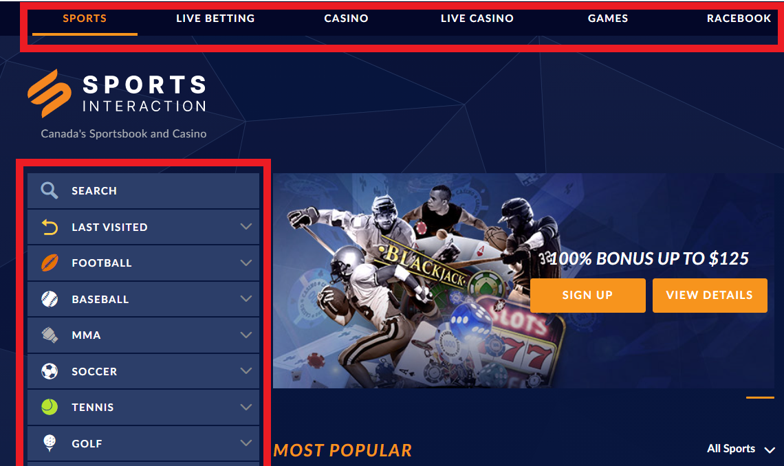 Sports Interaction Homepage