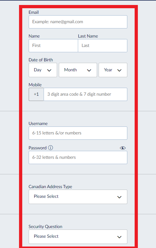 Sports Interaction Registration Page