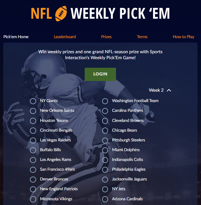 Sports Interaction NFL Weekly Pickem Promo