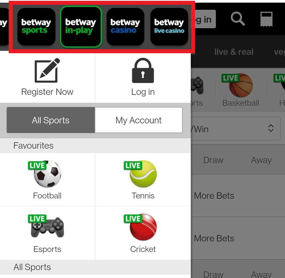 betway app navigation