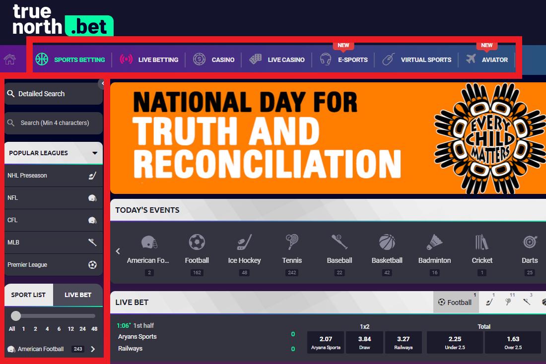 truenorth.bet homepage navigation