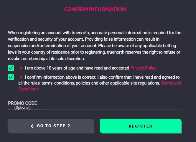 truenorth.bet registration confirmation