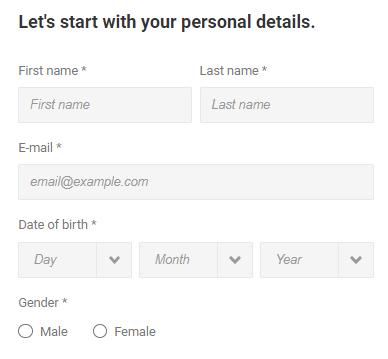 unibet registration personal details